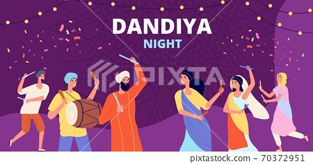 Garba dandiya night banner. Gujarat folk disco, girls boys holiday dancing. Religion music festival, young indian couple vector illustration 70372951