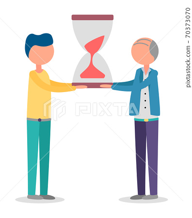 Managers Stopwatch, Sandglass in Workers Hands 70373070