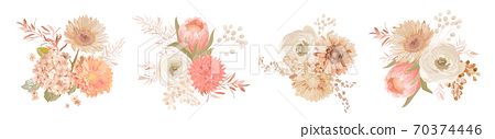 Watercolor pastel floral bouquets Design. Vector flowers, white rose, wedding hydrangea, ranunculus, anemone 70374446