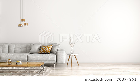 Interior design of modern apartment, living room with grey sofa 3d rendering 70374801