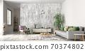 Interior design of modern scandinavian apartment, living room 3d rendering 70374802