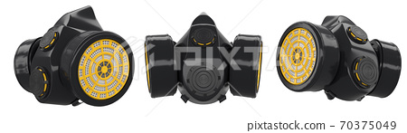 Set of respirators isolated on white. Protective clothing for industrial purpose 70375049