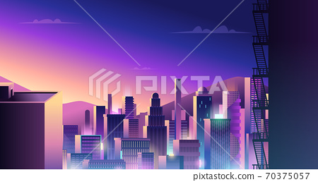 Futuristic urban landscape. Cyberpunk town with neon light and colored reflection digital city buildings vector 70375057