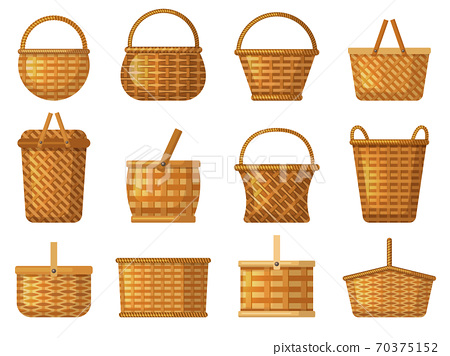 Holiday basket. Product hampers for camping vector handcraft basket cartoon collection 70375152
