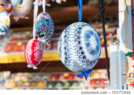 Souvenirs, easter eggs at the traditional Easter street market 70375946
