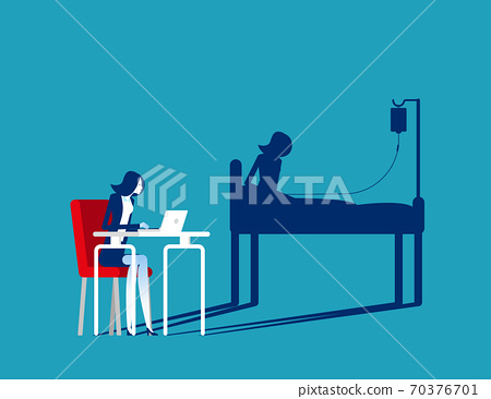 Businesswoman office working and health shadow. Hardwork concept 70376701