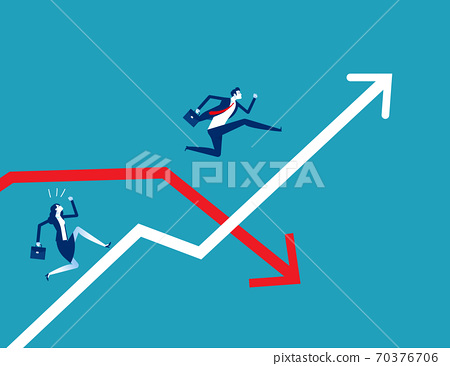 Business person jumping pass the arrow graph 70376706