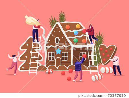 Festive Activity Preparation for Xmas Holidays Celebration. Tiny Characters Decorate Huge Christmas Gingerbread House 70377030