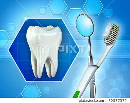 Molar tooth, mirror and toothbrush 70377575