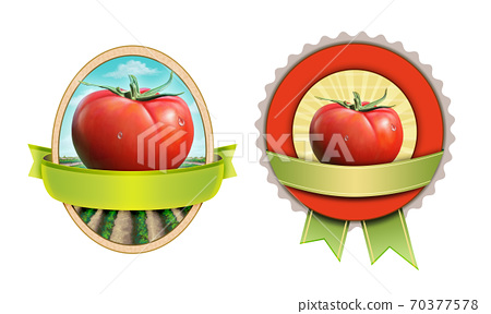 Tomato labels with clipping mask 70377578