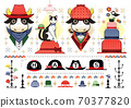 "Illustrations of various hats ""Hats Cows, cats and birds"" HATS 70377820"