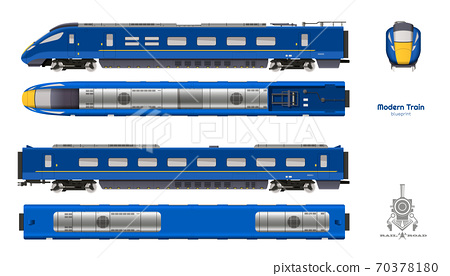 Isolated blueprint of blue modern train. Side, top and front views. Realistic 3d locomotive. Railway vehicle. Railroad pessenger transport 70378180