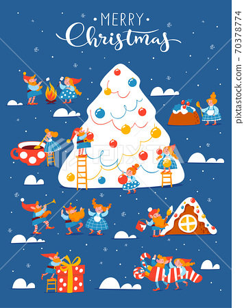 Cartoon Christmas hygge card with funny gnomes and lettering and Christmas tree. 70378774