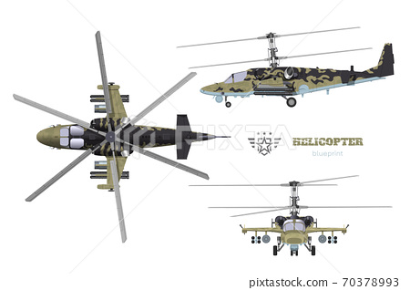 Blueprint of camouflage  military helicopter. Side, top and front views of armed air vehicle. Industrial 3d drawing with external weapon. Isolated war copter 70378993