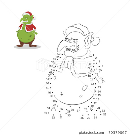 Dot to dot christmas game. Number puzzle for kids. Isolated goblin in Santa Claus costume. Activity book 70379067