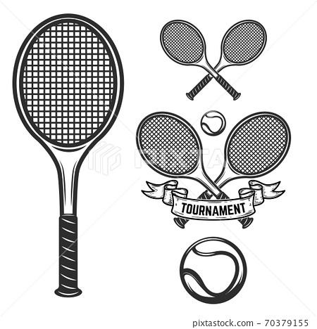 Set of tennis design elements for logo, label, emblem, sign. 70379155