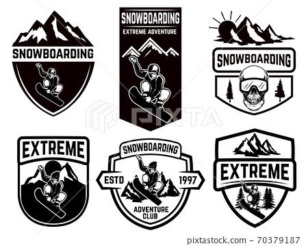 Set of snowboarding club emblems. Design element for logo, label, emblem, sign. 70379187
