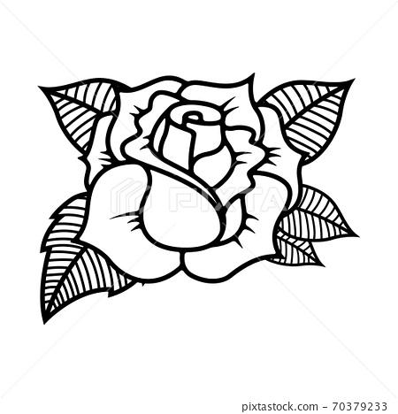 Tattoo style rose illustration on white background. Design elements for logo, label, emblem, sign. 70379233
