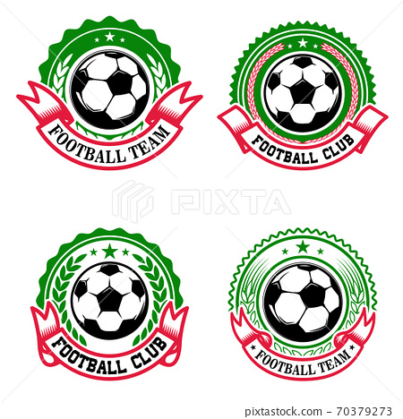 Set of colorful football club emblems. Soccer club. Design element for logo, label, emblem, sign. 70379273