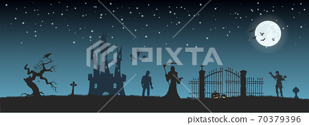 Halloween banner with fantasy silhouettes. Landscape of cemetary with mummy, death and frankenstein. Holiday scene of october party 70379396
