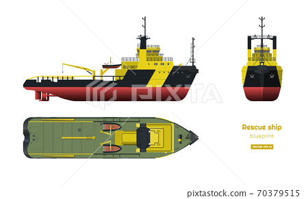 Rescue ship on white background. Top, side and front view. Industry 3d blueprint in realistic style. Isolated drawing of boat 70379515