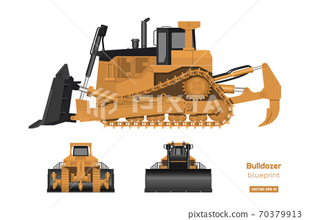 Bulldozer in realistic style. Front, side and back view of digger. Building machinery 3d image. Industrial isolated drawing of orange dozer. Diesel vehicle blueprint 70379913