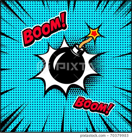 Comic style bomb illustration. Design element for poster, banner, flyer. 70379983