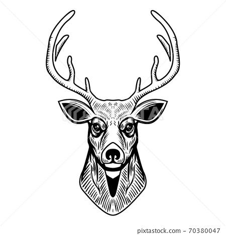 Deer head illustration isolated on white background. Design element for emblem, sign, poster, label. 70380047