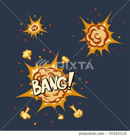 Explosion animation in cartoon style. Isolated image of comic blast. Bang icon 70380120