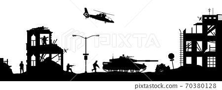 Black military silhouettes on white background. Soldiers assault house with terrorists. Scene of combat in broken city. War panorama. 70380128
