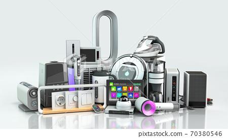Small group modern Home appliances  E commerce or online shopping presentation concept 3d render white 70380546