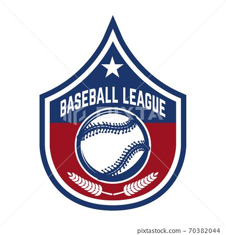 Emblem with baseball ball. Design element for logo, label, emblem, sign, badge. 70382044