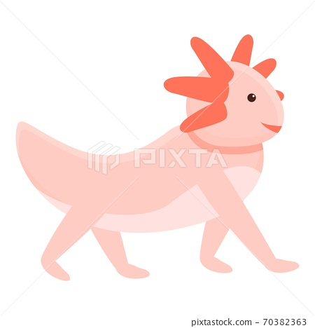 Walking axolotl icon, cartoon style 70382363