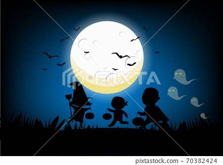 Ghost, Witch, Dracula and Ghost parades Halloween on the night of the full moon 70382424