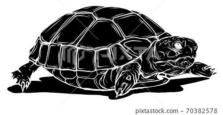 black silhouette turtle icon. Cartoon of tropical turtle vector icon for web design 70382578