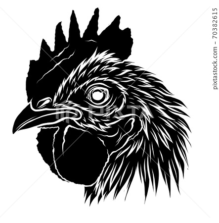 black silhouette Rooster.a handdraw and sketch in vector illustration. 70382615