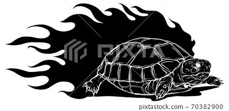 vector Illustration of black silhouette Sulcata land tortoise design 70382900