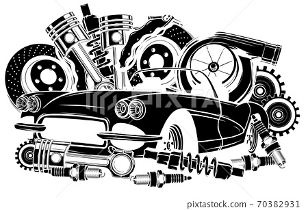 Vector illustration of Car Spares Frame and parts black silhouette 70382931