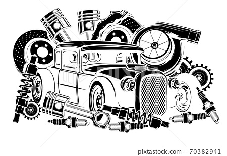 Vector illustration of Car Spares Frame and parts black silhouette 70382941