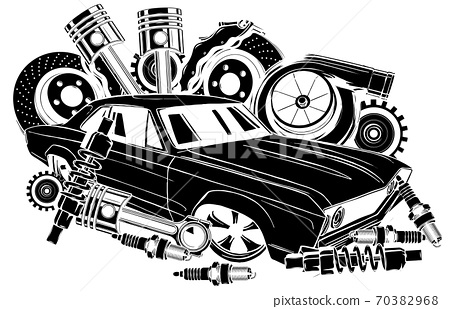 Vector illustration of Car Spares Frame and parts black silhouette 70382968