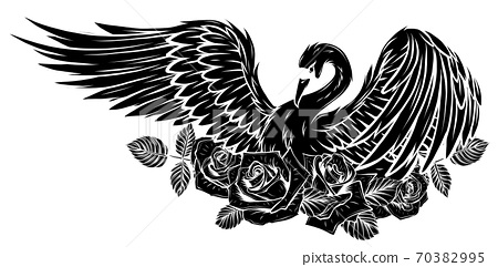 Vector Set of Swan and Roses. vector black silhouette 70382995