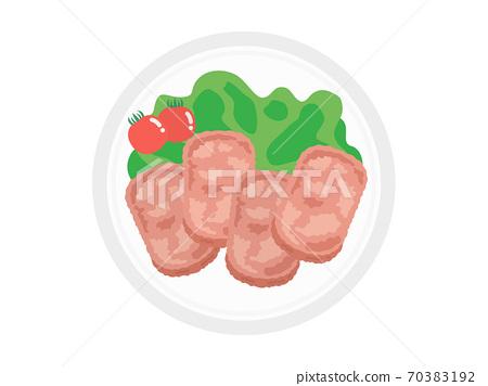 午餐肉在盤子上的插圖 70383192