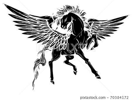 Vector silhouette running horse Pegasus black silhouette illustartion design 70384172