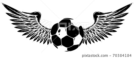 vector Grunge image with winged soccer ball black silhouette 70384184