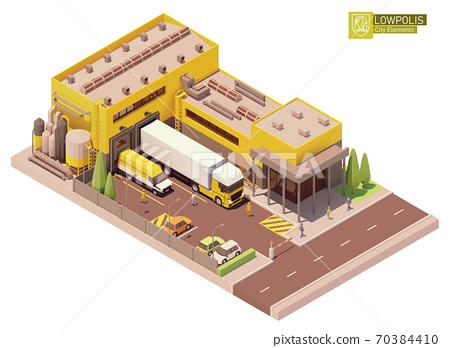 Vector isometric factory building 70384410