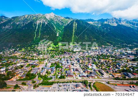 Chamonix town aerial panoramic view 70384647