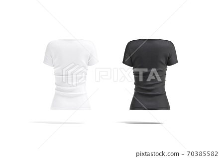 Blank black and white women slimfit t-shirt mockup, back view 70385582