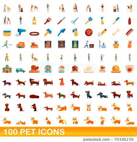 100 pet icons set, cartoon style 70386230