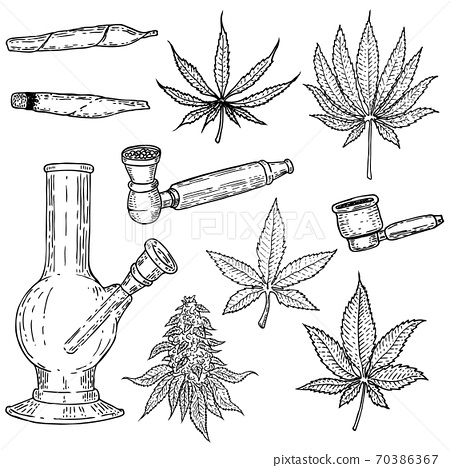 Set of hand drawn cannabis leaves, bong, smoking pipes. Design element for poster, card, banner. 70386367