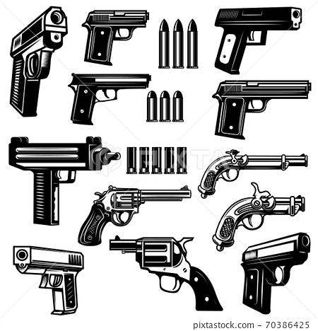 Set of handgun, revolver illustrations. Design elements for logo, label, emblem, sign, badge. 70386425
